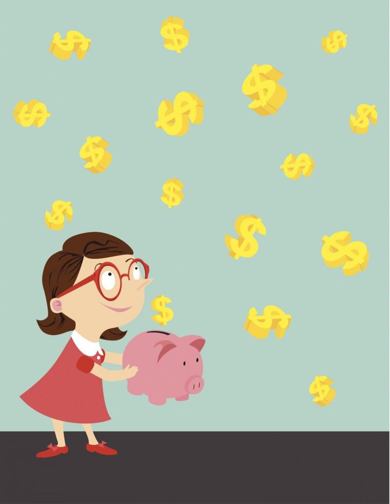 Little girl save money