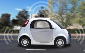 Autonomous self-driving driverless vehicle with radar on the roa